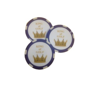 Golf Ballmarker KING OF GOLF 3-er-Set
