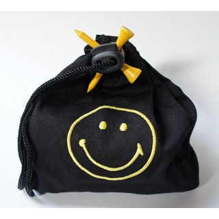 Teebag SMILEY  mit Gollball, Tees, Pitchgabel und Ballmarker